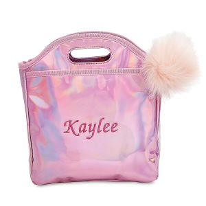 Personalized Pink Holographic Lunch Bag