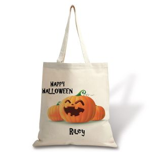 Personalized Natural Canvas Jack-o-Lantern Halloween Tote