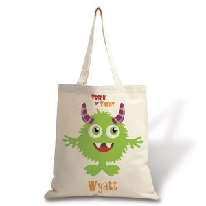 Personalized Natural Canvas Monster Halloween Tote