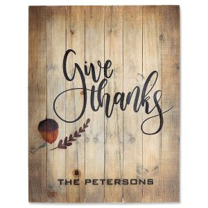 Personalized Give Thanks Wooden Plaque