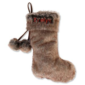 Personalized Brown Fur Stocking