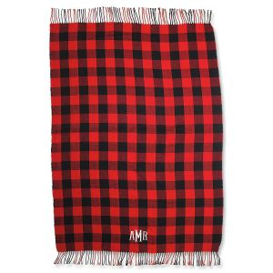 Personalized Red Buffalo Check Blanket