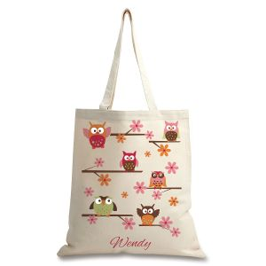 Personalized Owl Canvas Tote