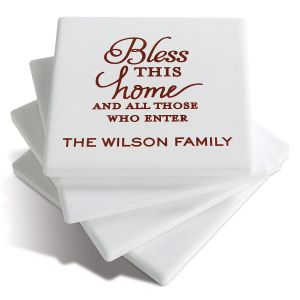 Bless This Home Personalized Ceramic Coasters
