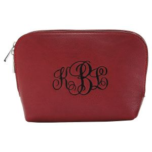 Personalized Burgundy Cosmetic Bag