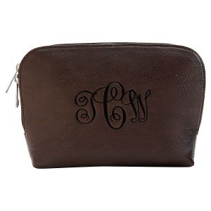 Personalized Brown Cosmetic Bag