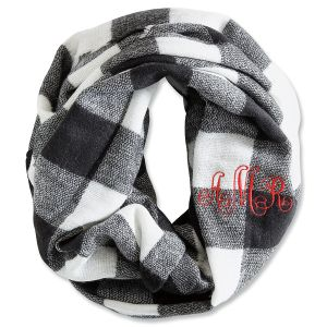 Personalized Black & White Plaid Infinity Scarf