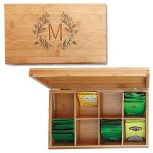 Engraved Floral Laurel Bamboo Tea Box