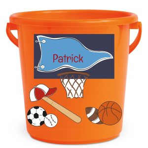 Personalized Kids Beach Bucket - Sports