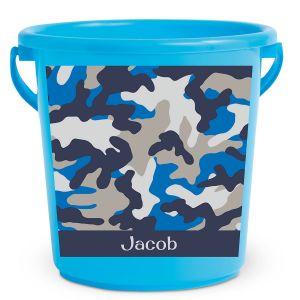 Personalized Kids Beach Bucket - Blue Camo