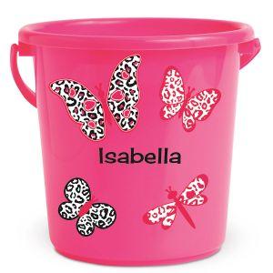 Personalized Kids Beach Bucket - Leopard Butterfly
