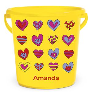 Personalized Kids Beach Bucket - Crazy Hearts