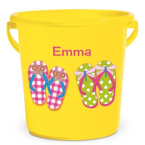Personalized Kids Beach Bucket - Flip Flops