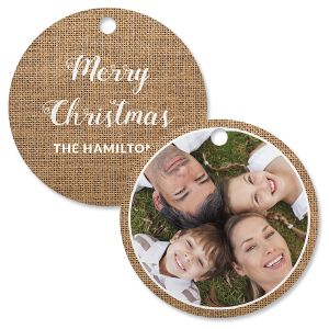 Burlap Photo Ornament – Circle