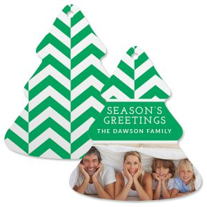 Green Chevron Photo Ornament – Tree
