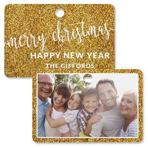 Gold Glitter Photo Ornament – Rectangle