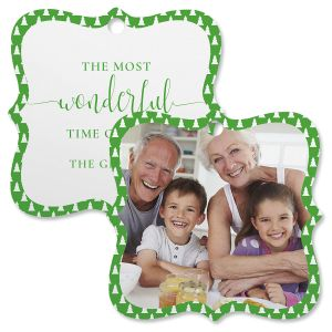 Green Tree Photo Ornament – Square Bracket