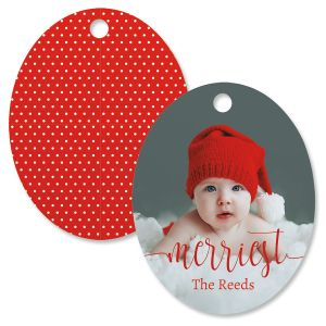 Merriest Photo Ornament – Oval