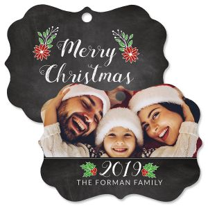 Merry Chalk Photo Ornament - Bracket