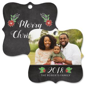 Merry Chalkboard Photo Ornament – Square Bracket