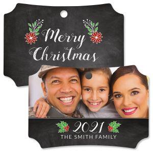 Merry Chalk Photo Ornament – Deluxe