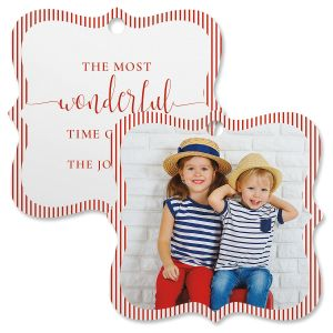 Pinstripe Photo Ornament – Square Bracket