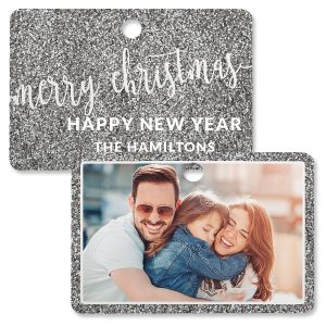 Silver Glitter Photo Ornament – Rectangle