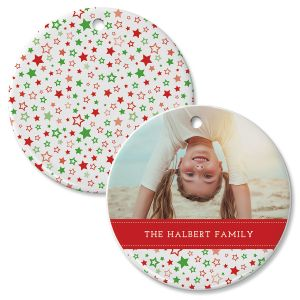 Personalized Holiday Stars Photo Ornament