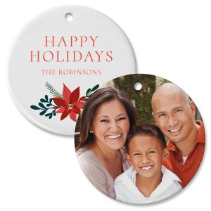 Personalized Holly Photo Ornament - Circle