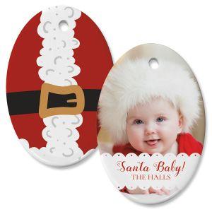 Santa Baby Photo Ornament – Oval