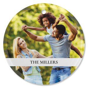 Family Name Photo Ornament - Glass Round