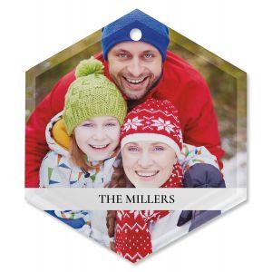 Family Name Photo Ornament - Glass Hexagon