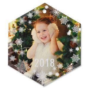 Snowflake Photo Ornament - Glass Hexagon