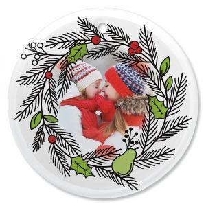 Wreath Photo Ornament - Glass Round