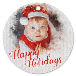 Watercolor Photo Ornament - Circle