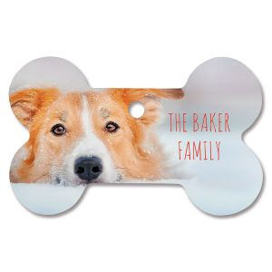 Family Name Photo Ornament - Bone