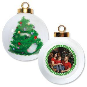 Green Tree Photo Ornament - Round Tree