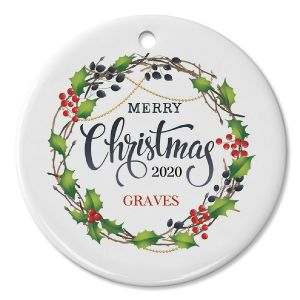 Merry Christmas Berry Wreath Personalized Ornament