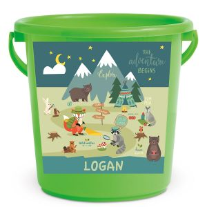 Personalized Kids Beach Bucket - Woodland Animals