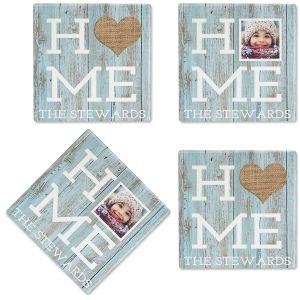 Rustic Home Photo Coasters