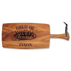 Personalized King of the Grill Paddle Cutting Board