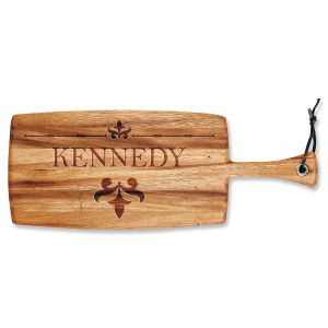 Personalized Fleur de lis Paddle Cutting Board