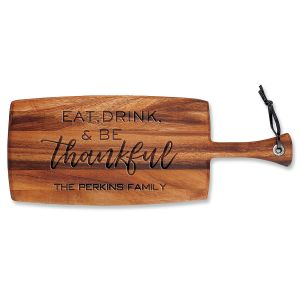 Personalized Eat, Drink, Be Thankful Paddle Cutting Board
