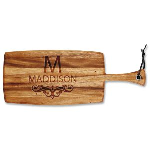 Personalized Last Name Scroll Paddle Cutting Board