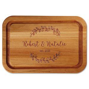Personalized Wreath Wood Cutting Board
