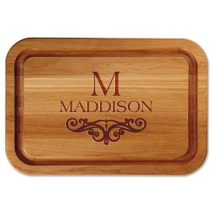Personalized Last Name Scroll Wood Cutting Board