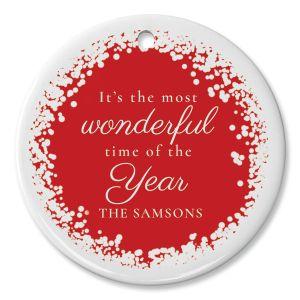 Snow Confetti Personalized Ornament Circle