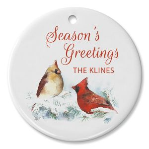 Winter Cardinal Personalized Ornament Circle