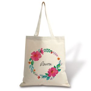 Personalized Name in Wreath Canvas Tote