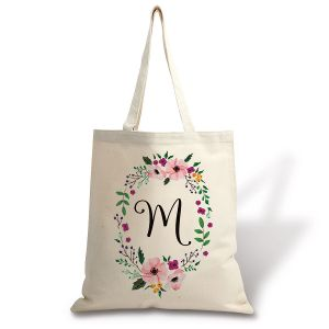 Personalized Initial in Wreath Canvas Tote